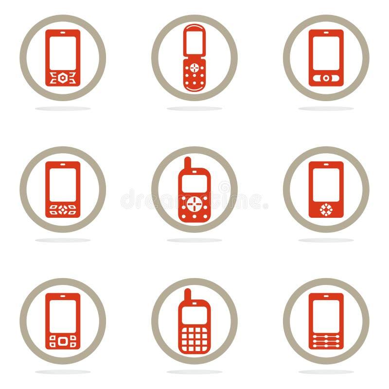 图标移动电话集 库存例证