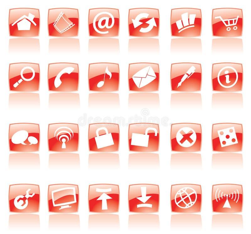 图标红色万维网 向量例证