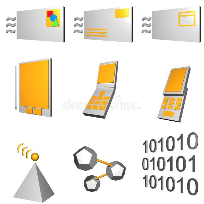 图标行业移动电话集合电信 皇族释放例证