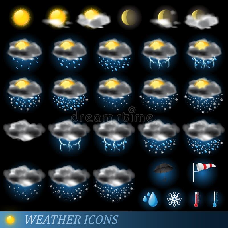 图标被设置的向量天气 向量例证
