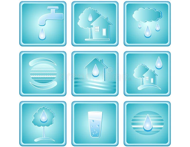 图标被设置的水 向量例证