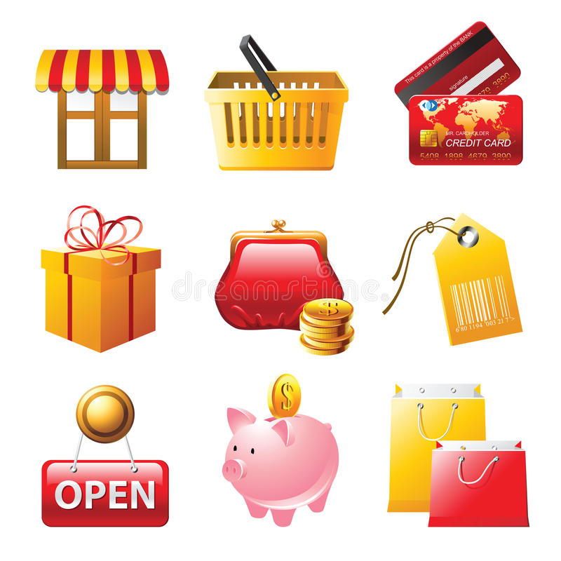 图标被设置的购物 向量例证