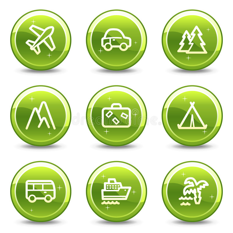 图标被设置的运输旅行万维网 向量例证
