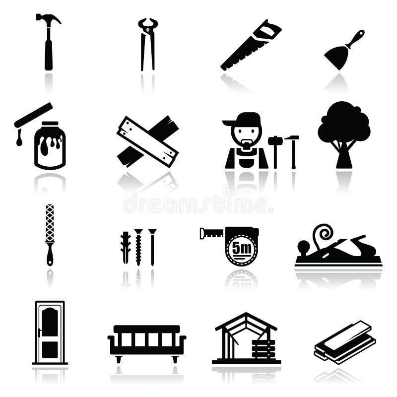 图标设置了木匠业 免版税图库摄影