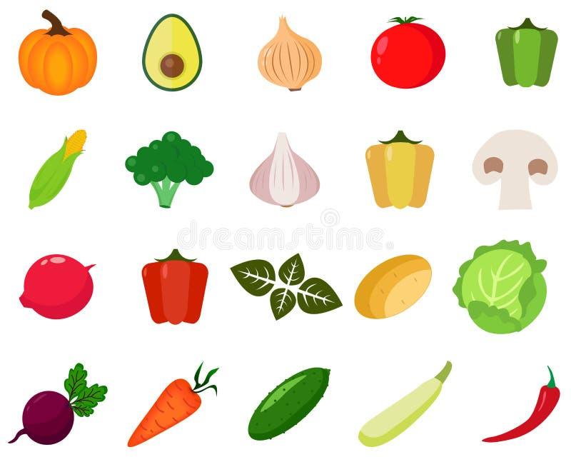 图标设置了蔬菜 皇族释放例证
