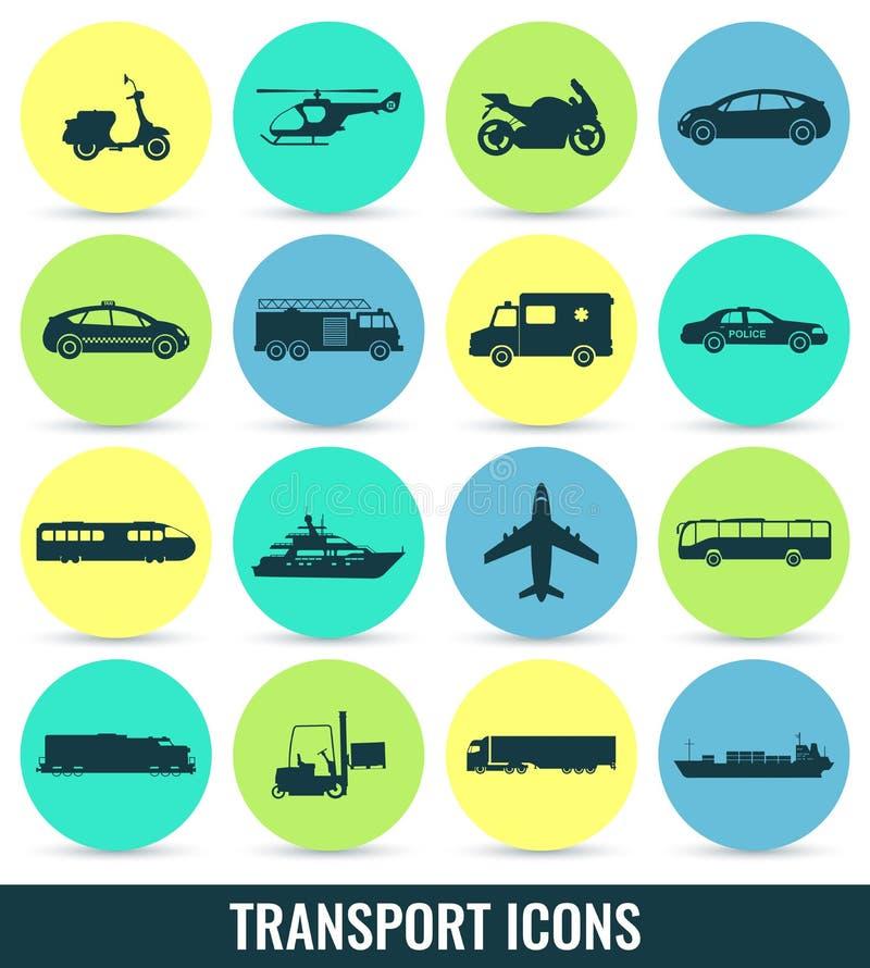 图标设置了运输 城市汽车和车运输 汽车,船,飞机,火车,摩托车,直升机 向量例证