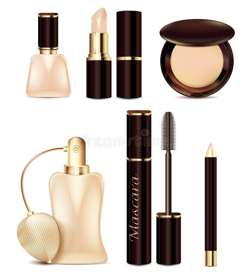 图标设置了 化妆用品和香水设计在米黄口气 广告产品唇膏,指甲油,粉末,铅笔,染睫毛油 皇族释放例证