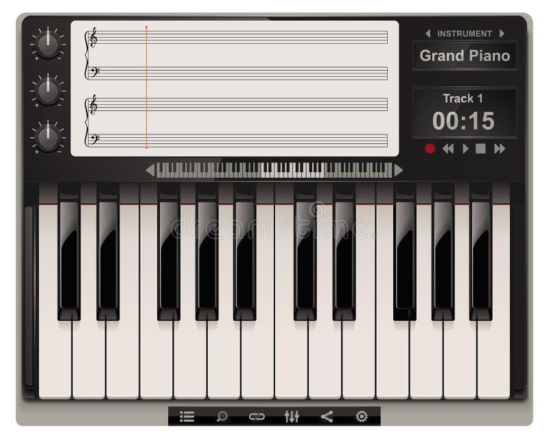 图标钢琴模板向量 向量例证