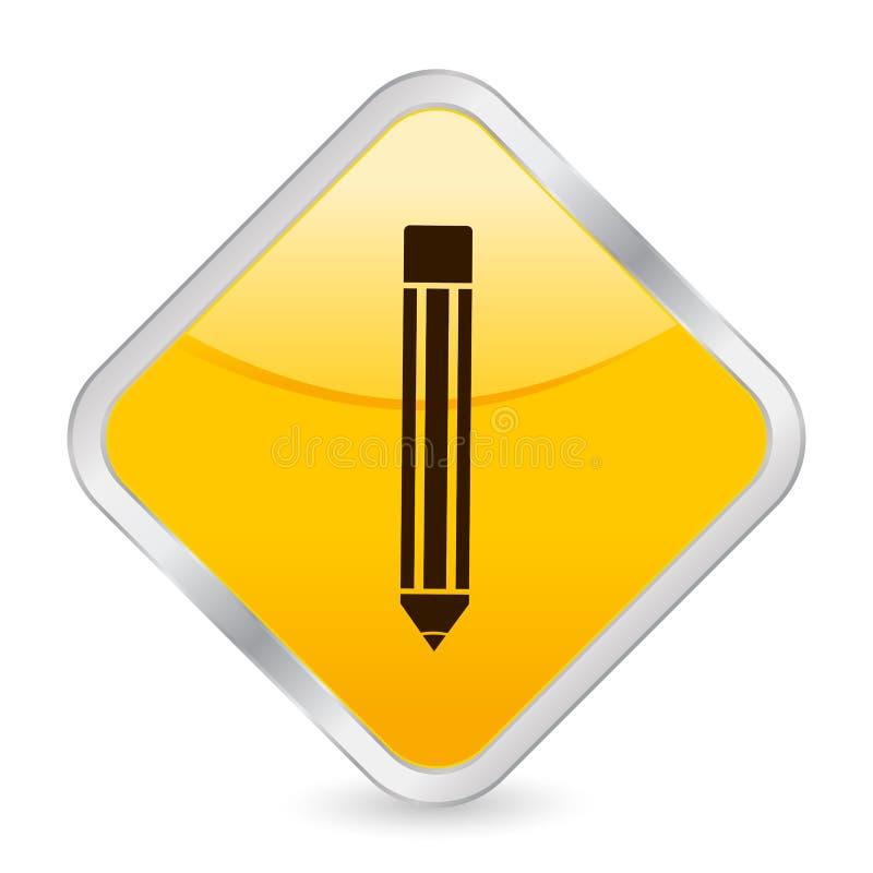图标铅笔正方形黄色 皇族释放例证