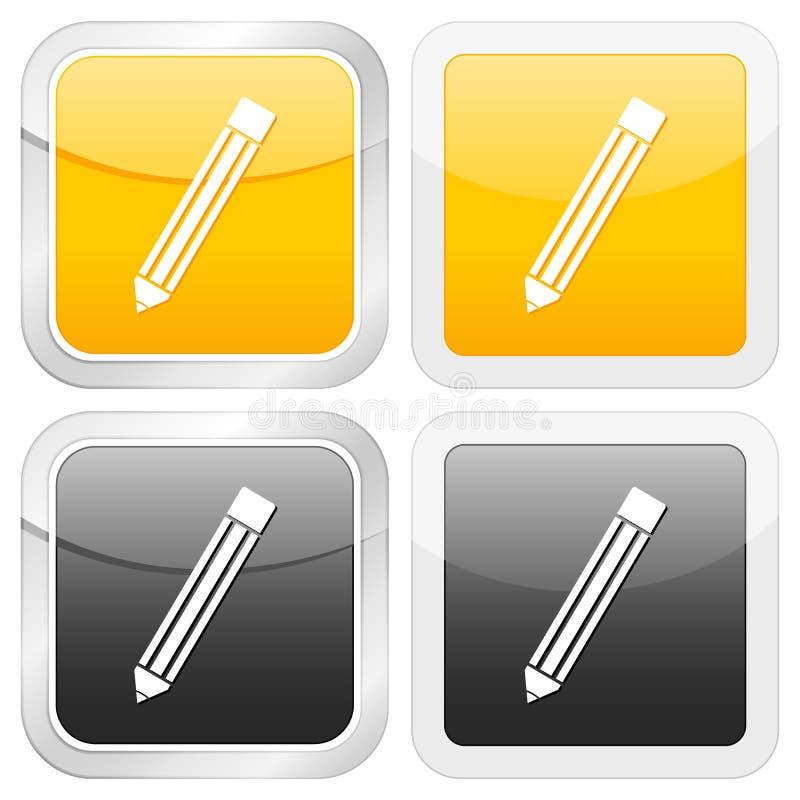 图标铅笔正方形 皇族释放例证