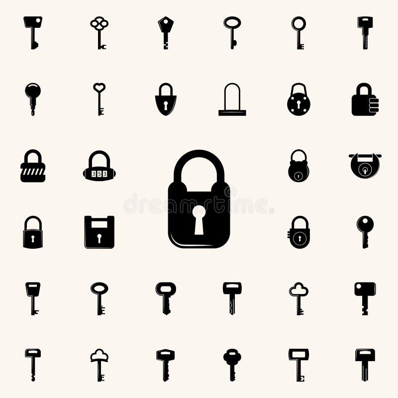 图标锁定集合向量万维网 锁和钥匙象全集网和机动性的 皇族释放例证