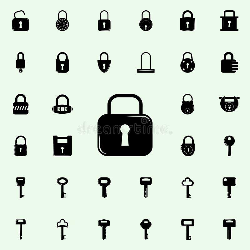 图标锁定集合向量万维网 锁和钥匙象全集网和机动性的 向量例证