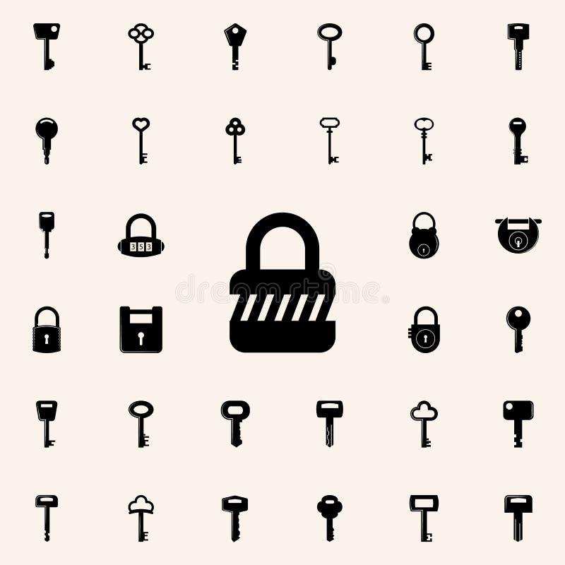 图标锁定集合向量万维网 锁和钥匙象全集网和机动性的 库存例证
