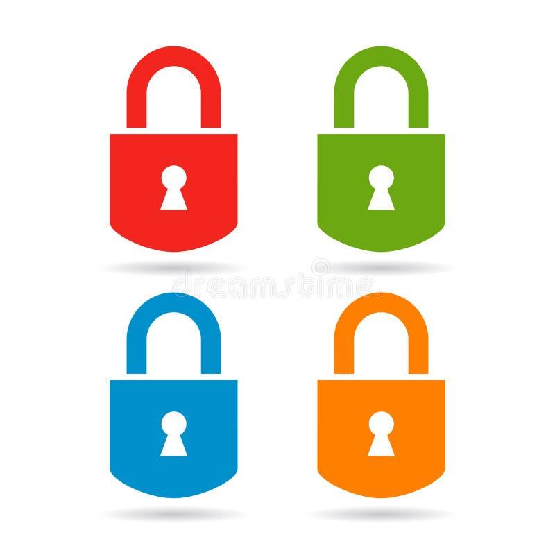 图标锁定集合向量万维网 库存例证