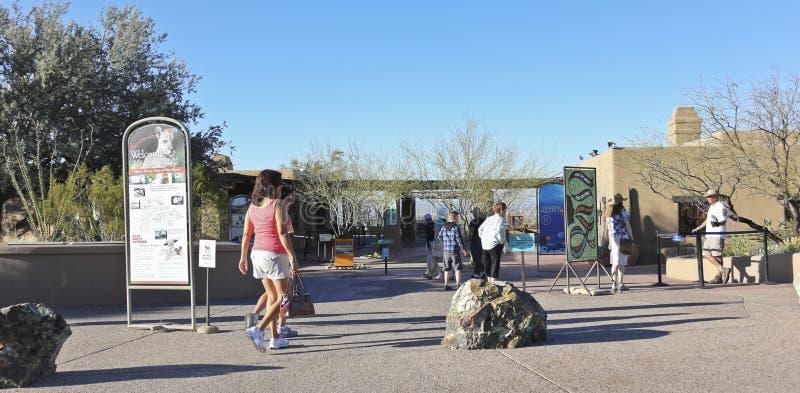 亚利桑那地面蛇沙漠博物馆入口,图森,亚利桑那 库存照片
