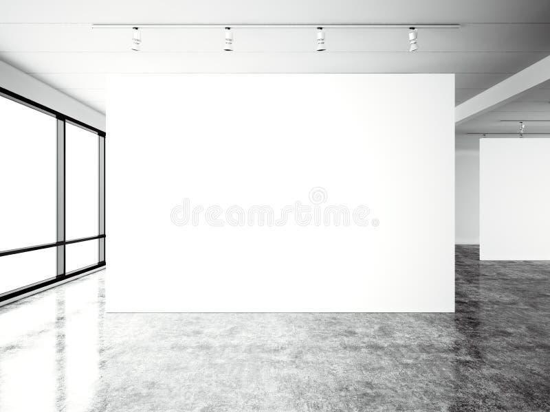 图片博览会现代画廊,露天场所 空白的白色空的帆布当代工业地方 完全内部顶楼 皇族释放例证