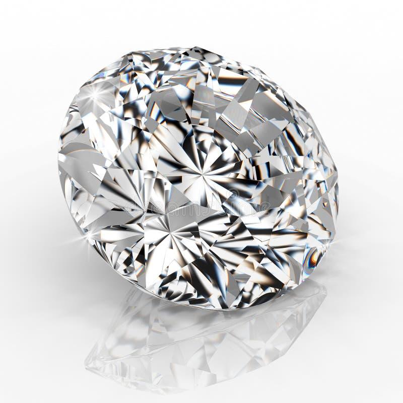 图片在白色背景的金刚石珠宝 美好的闪耀的光亮的圆形绿宝石图象 3D使精采 库存例证
