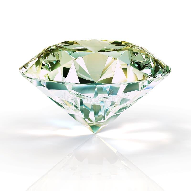 图片在白色背景的金刚石珠宝 美好的闪耀的光亮的圆形绿宝石图象 3D使精采 向量例证