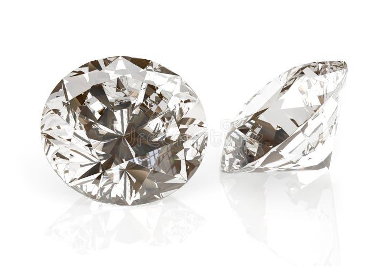 图片在白色背景的金刚石珠宝 美好的闪耀的光亮的圆形绿宝石图象 3D使精采 皇族释放例证