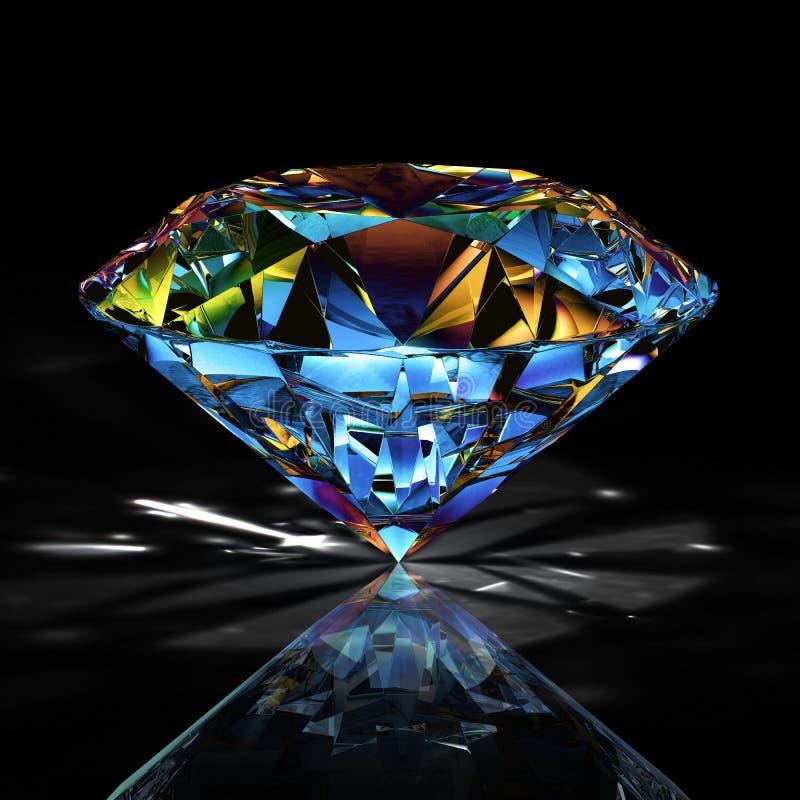 图片在黑背景的金刚石珠宝 美好的闪耀的光亮的圆形绿宝石图象 3D使精采 向量例证