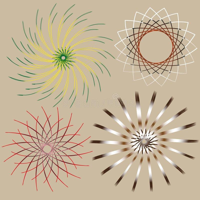 图片套四明亮的圆透雕细工作用 向量例证
