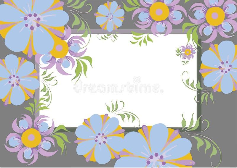 图片的框架开花图片的蓝色紫色橙色框架 免版税库存照片