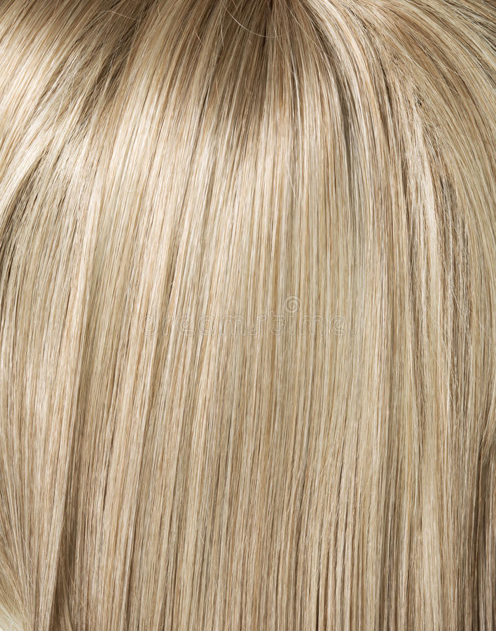 图片的长期,平直的白肤金发的发型 免版税库存图片