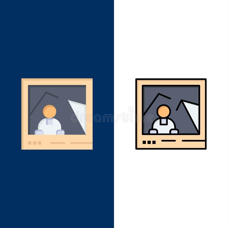 图片,图象,地标,照片象 舱内甲板和线被填装的象设置了传染媒介蓝色背景 库存例证