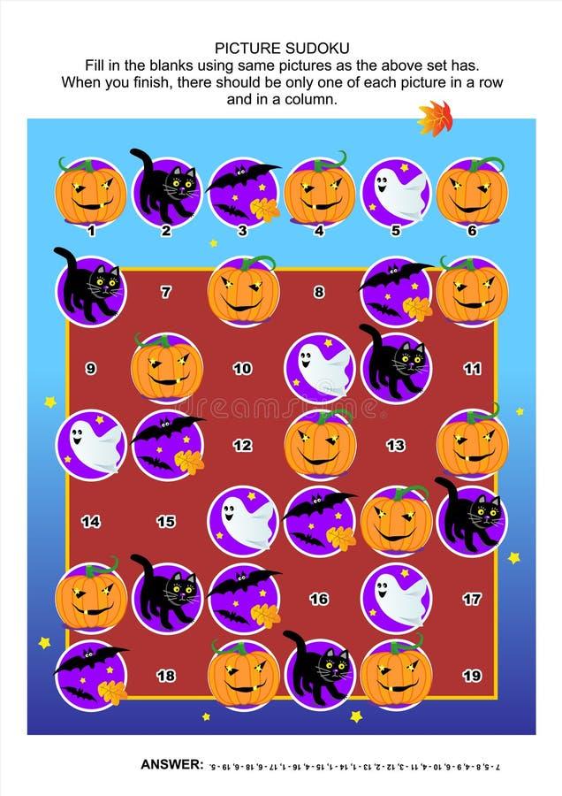 图片sudoku难题,主题的万圣夜 库存例证