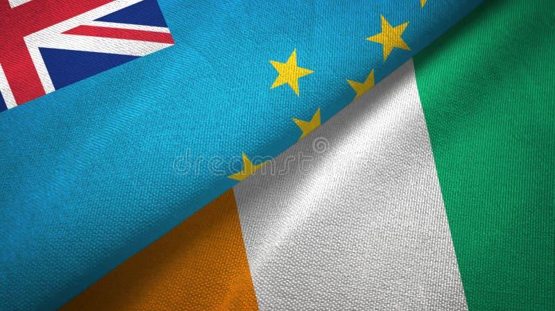 图瓦卢和科特迪瓦象牙海岸两旗子织物纹理 向量例证