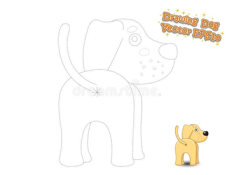 图画和着色逗人喜爱的动画片狗小狗拉布拉多 Educationa 库存例证