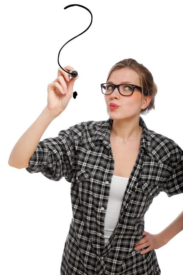 图画女孩标记问题学员 免版税库存照片