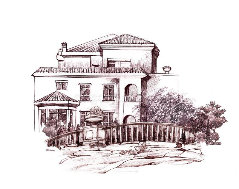 图画房子铅笔结构树