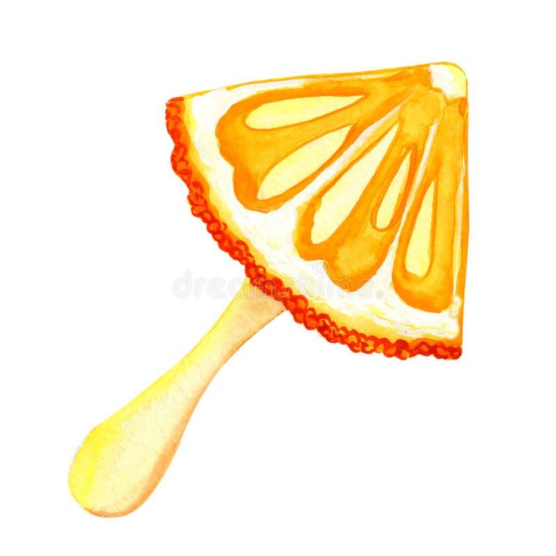 图画桔子,普通话,冰淇淋水彩 印刷品,标签,菜单,咖啡馆,广告,横幅,海报设计  皇族释放例证