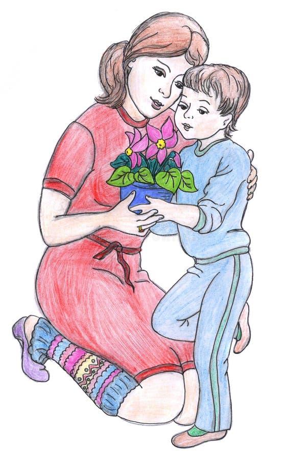 图画母亲儿子 库存例证
