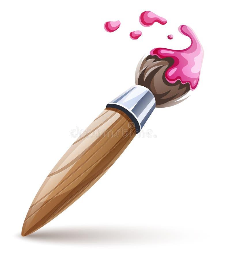 图画的艺术与被隔绝的桃红色油漆的brushe和绘画 r 皇族释放例证