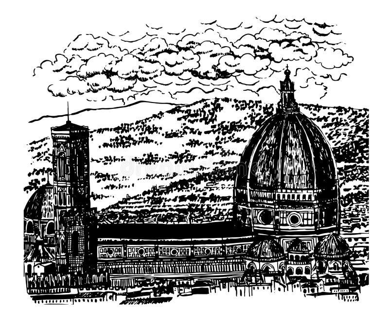 图画背景中央寺院,圣玛丽亚del菲奥雷大教堂的风景视图在佛罗伦萨, sk 库存例证