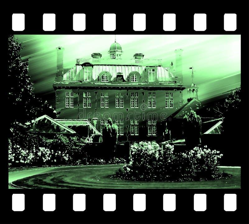 图画边缘胶卷画面房子老照片 免版税库存照片