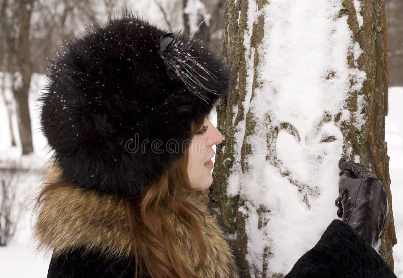 图画重点结构树妇女年轻人 图库摄影