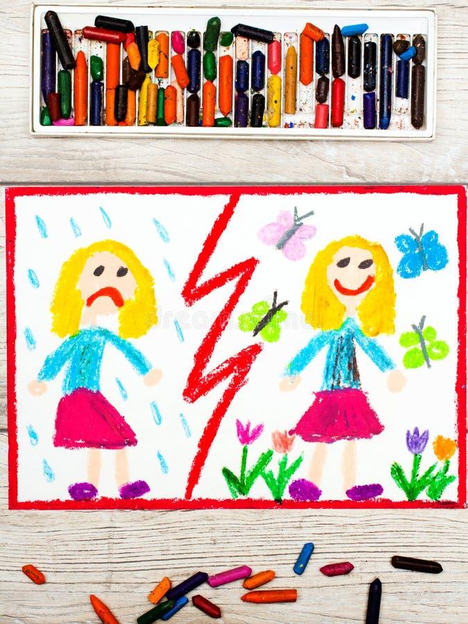 图画 对面:哀伤和愉快的女孩 免版税图库摄影