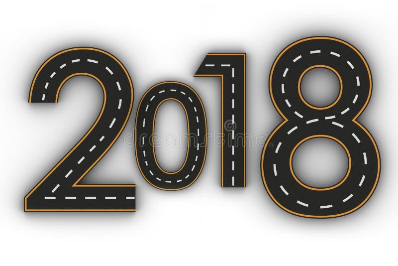 图的新年2018标志以一条路的形式有白色和黄线的标号 向量例证