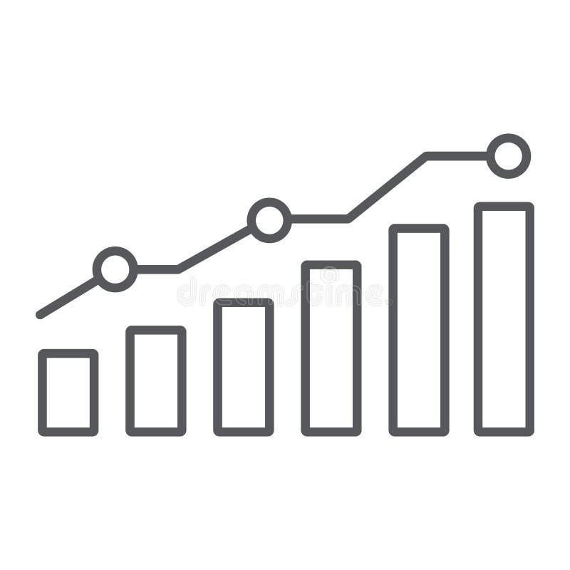 图稀薄的线象,报告和图表,成长曲线图标志,向量图形,在白色背景的一个线性样式 向量例证