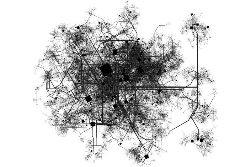 图纸城市映射 向量例证