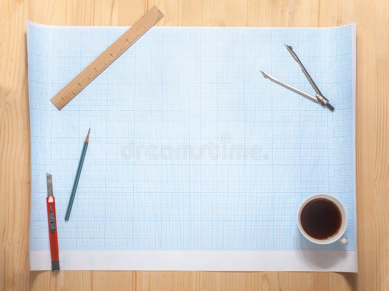 图纸的空白在工作区的 库存图片