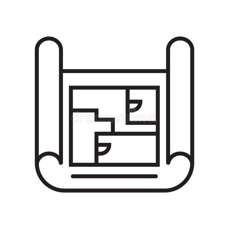 图纸象在白色背景和标志隔绝的传染媒介标志,图纸商标概念 皇族释放例证