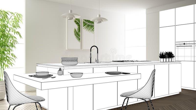 图纸项目最低纲领派现代厨房草稿、剪影有海岛的和灯,室内设计概念想法,现代公寓 向量例证