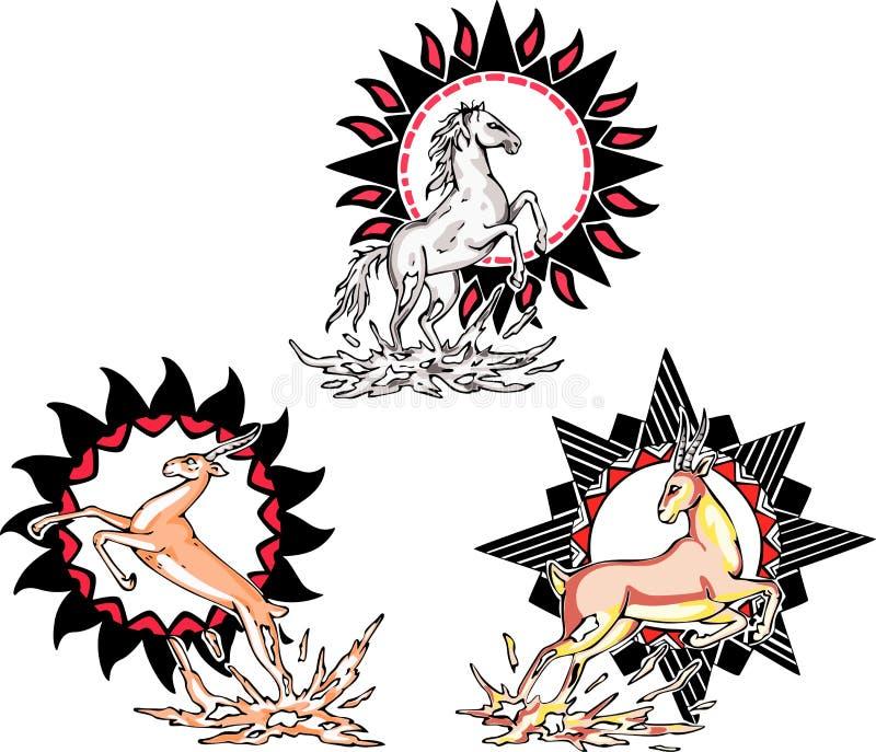 图腾-与太阳符号的马和羚羊 向量例证