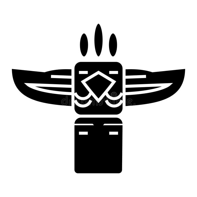 图腾-美国本地人象,传染媒介例证,在被隔绝的背景的黑标志 库存例证