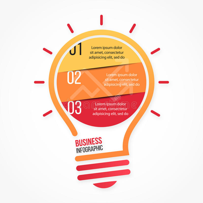 图表、图、图和其他infographics的电灯泡传染媒介infographic模板 向量例证