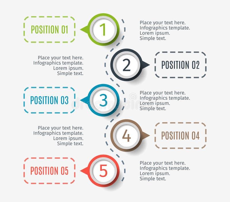 图表、图与5步,选择或者零件的抽象元素 infographic的创造性的概念 企业数据 向量例证